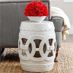 Pleasant Abbyson Living Moroccan White Ceramic Garden Stool Machost Co Dining Chair Design Ideas Machostcouk